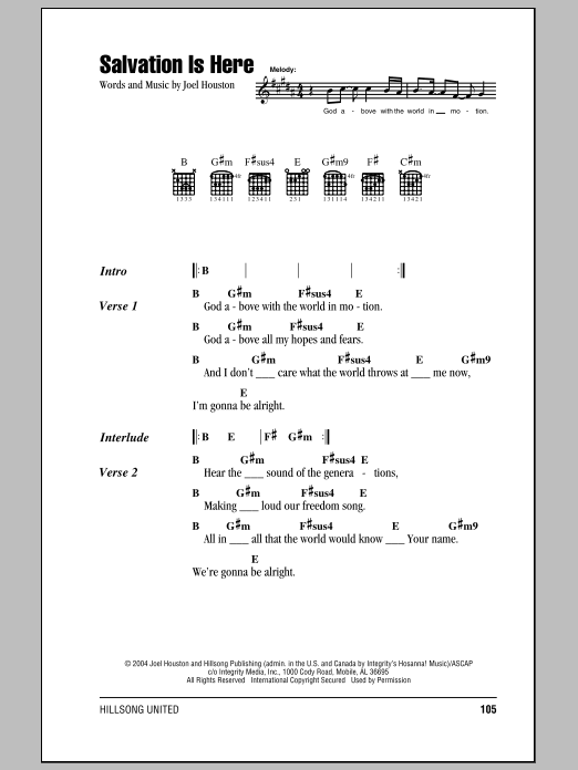 Hillsong United Salvation Is Here sheet music notes and chords. Download Printable PDF.