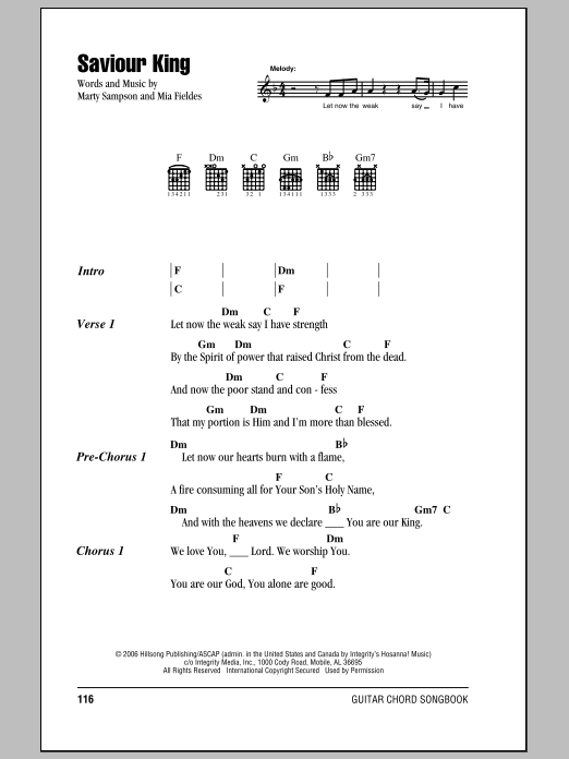 Hillsong United Saviour King sheet music notes and chords. Download Printable PDF.