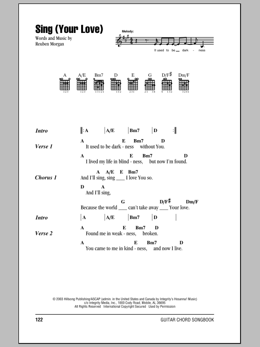 Hillsong United Sing (Your Love) sheet music notes and chords. Download Printable PDF.