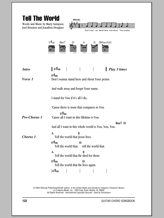 Hillsong United Tell The World sheet music notes and chords. Download Printable PDF.
