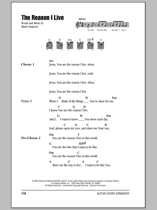 Hillsong United The Reason I Live sheet music notes and chords. Download Printable PDF.