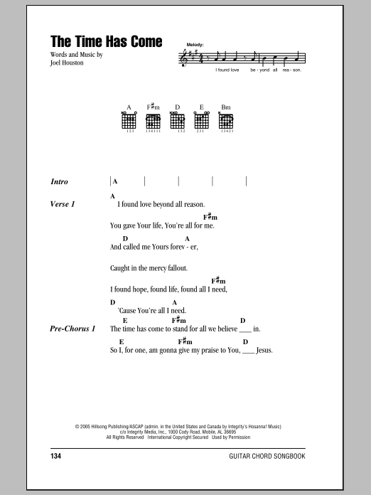 Joel Houston The Time Has Come sheet music notes and chords. Download Printable PDF.