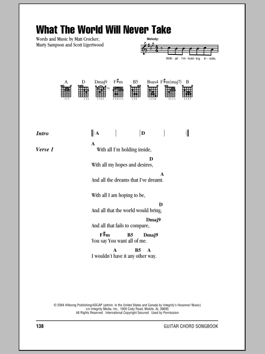 Hillsong United What The World Will Never Take sheet music notes and chords. Download Printable PDF.