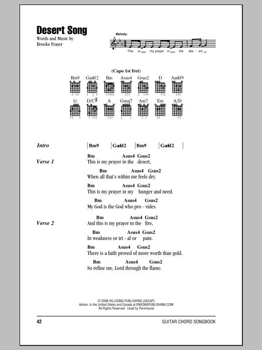 Brooke Ligertwood Desert Song sheet music notes and chords. Download Printable PDF.