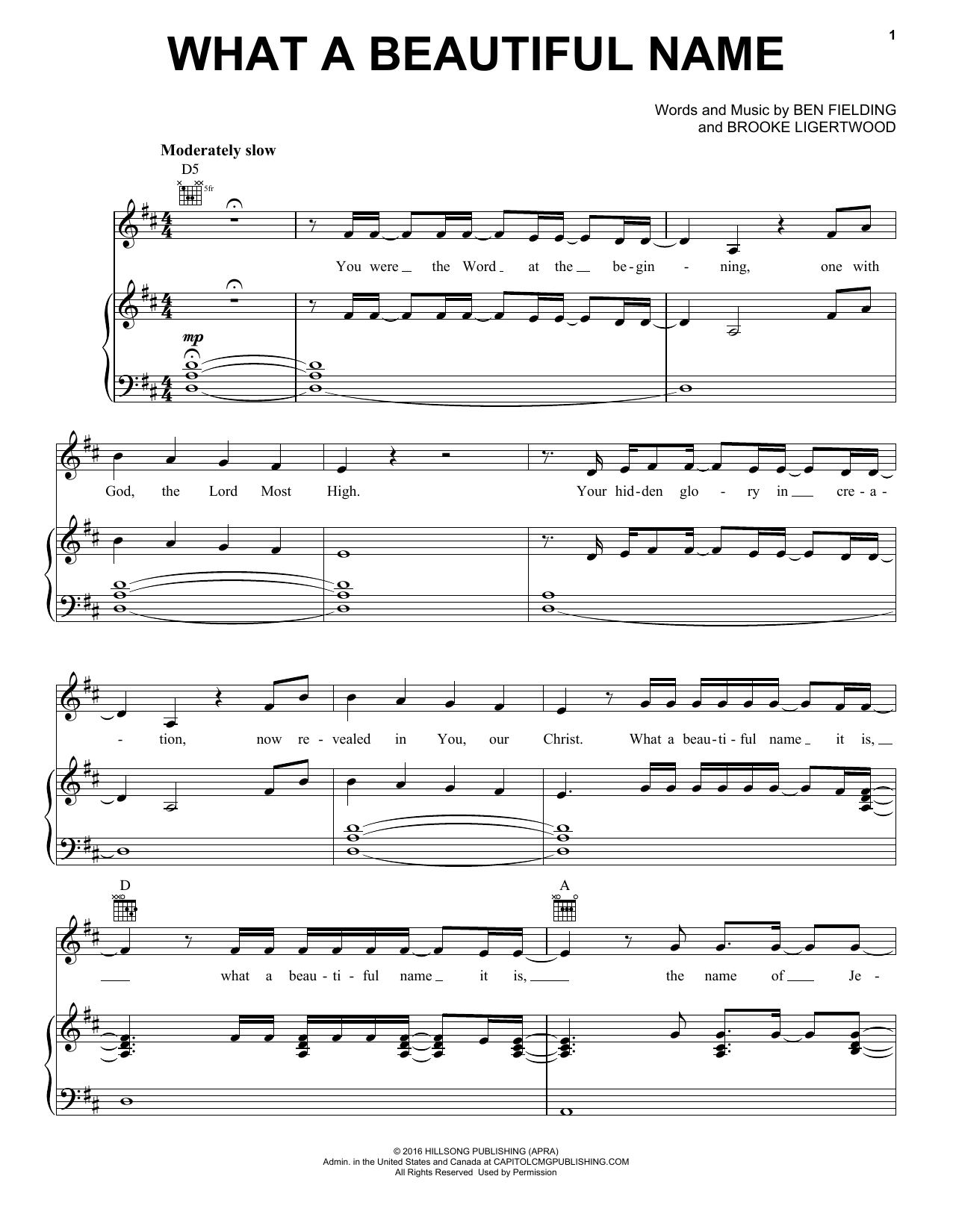 Hillsong Worship What A Beautiful Name sheet music notes and chords