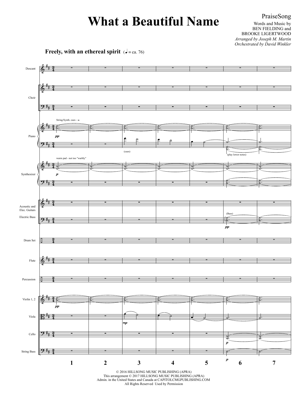 Hillsong Worship What a Beautiful Name (arr. Joseph M. Martin) - Full Score sheet music notes and chords. Download Printable PDF.