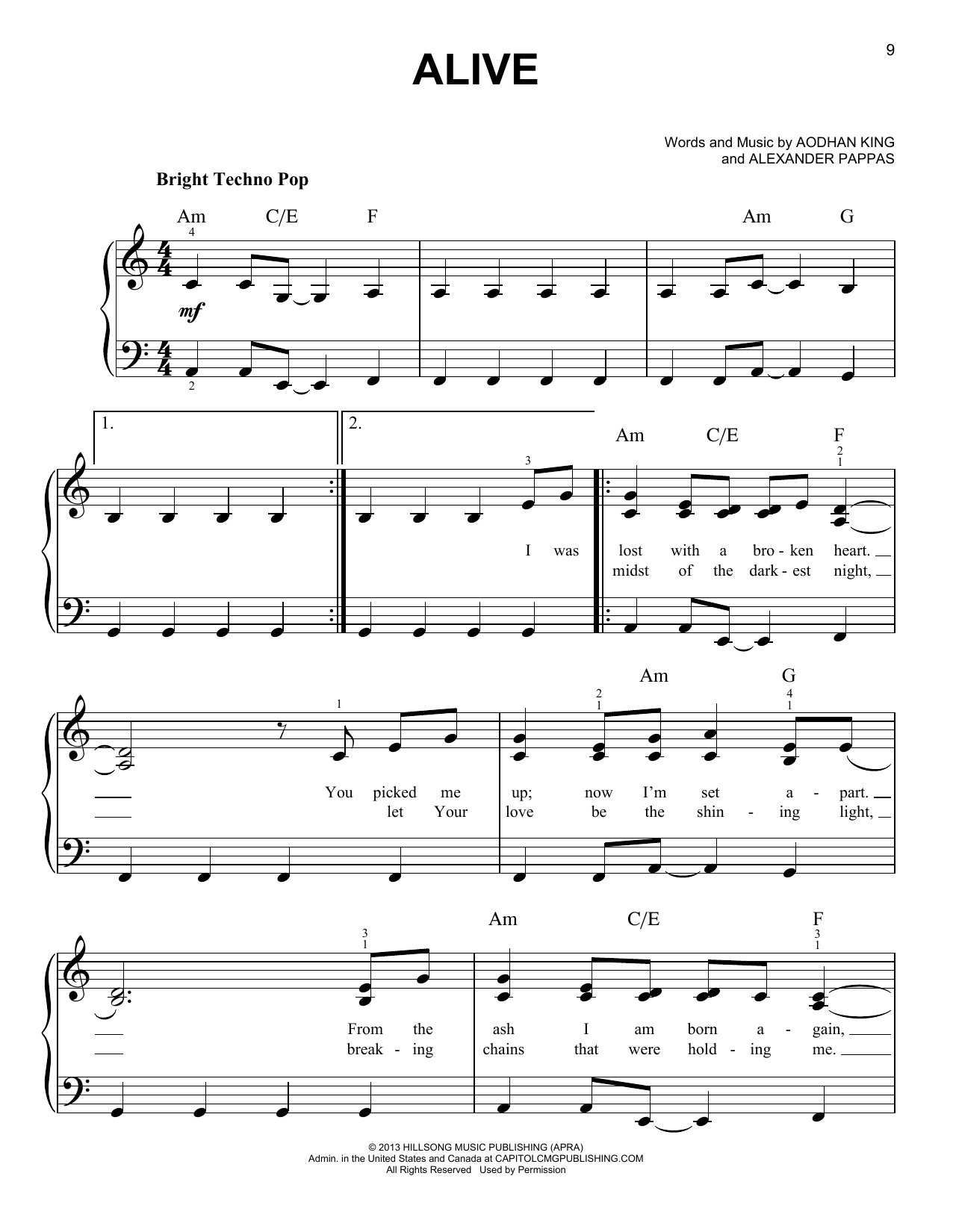 Hillsong Young & Free Alive sheet music notes and chords