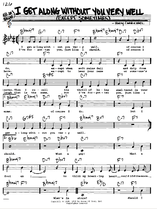 Hoagy Carmichael I Get Along Without You Very Well (Except Sometimes) sheet music notes and chords. Download Printable PDF.