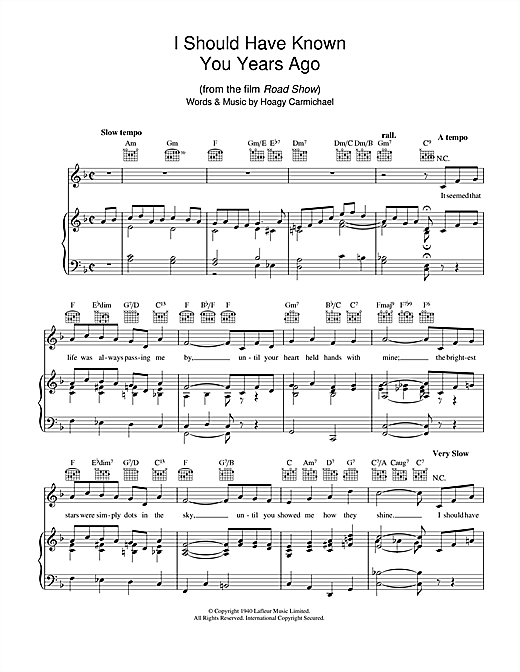 Hoagy Carmichael I Should Have Known You Years Ago sheet music notes and chords. Download Printable PDF.