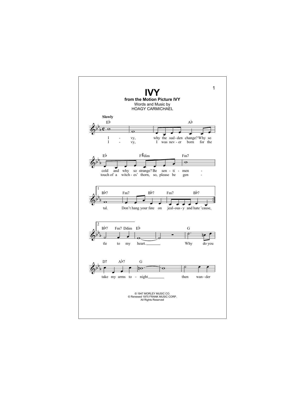 Hoagy Carmichael Ivy sheet music notes and chords. Download Printable PDF.