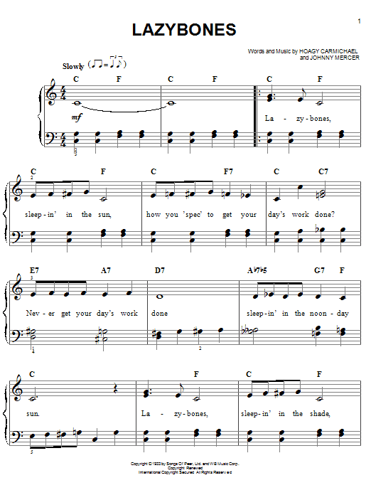 Hoagy Carmichael Lazybones sheet music notes and chords. Download Printable PDF.
