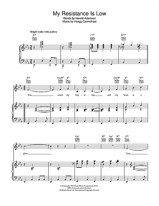 Hoagy Carmichael My Resistance Is Low sheet music notes and chords. Download Printable PDF.