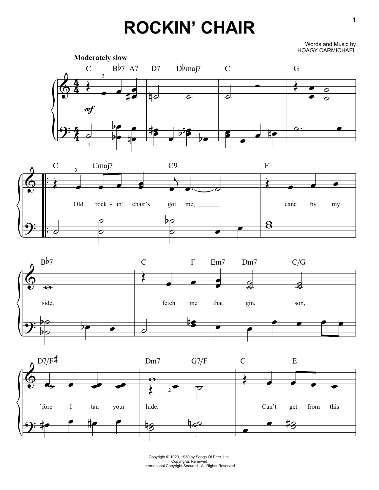 Hoagy Carmichael Rockin' Chair sheet music notes and chords. Download Printable PDF.
