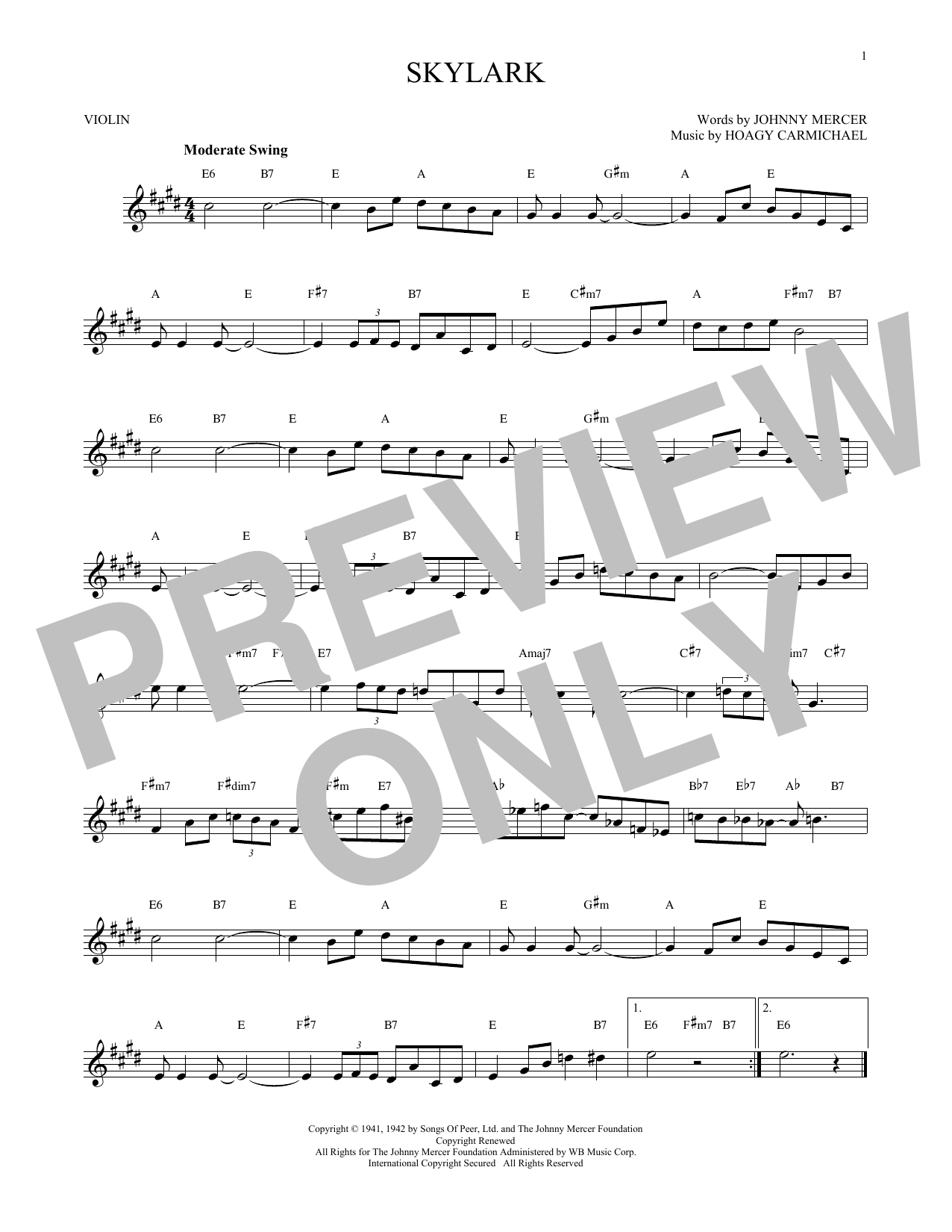 Hoagy Carmichael Skylark sheet music notes and chords. Download Printable PDF.