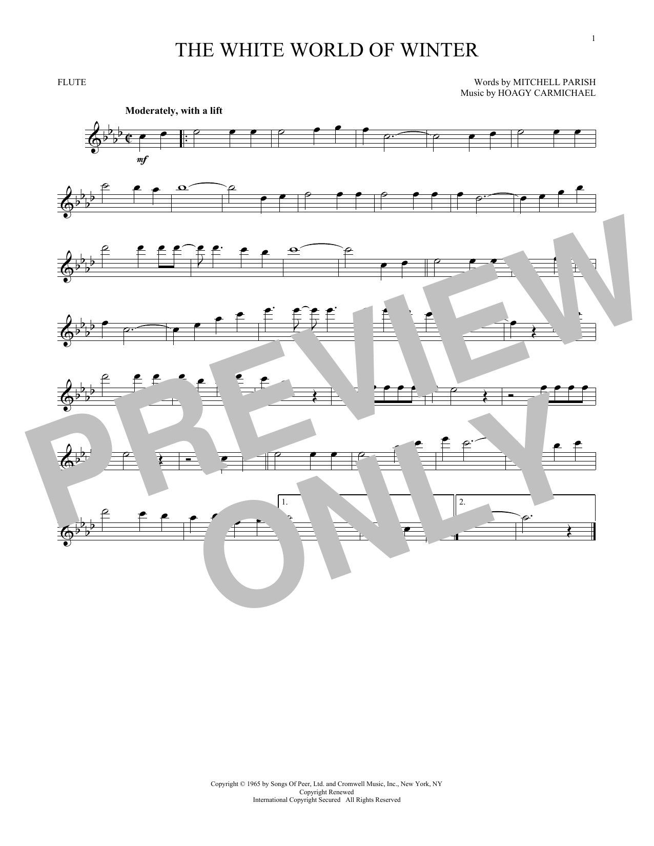Hoagy Carmichael The White World Of Winter sheet music notes and chords