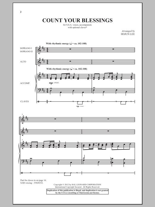 Hojun Lee Count Your Blessings sheet music notes and chords. Download Printable PDF.