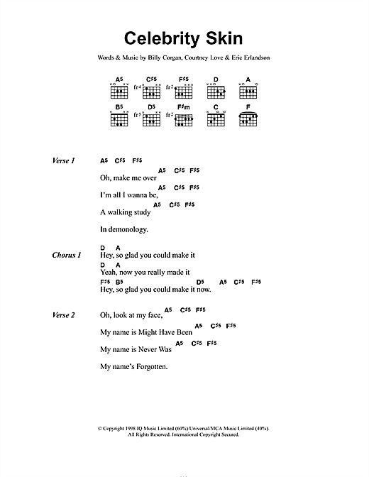 Hole Celebrity Skin sheet music notes and chords. Download Printable PDF.