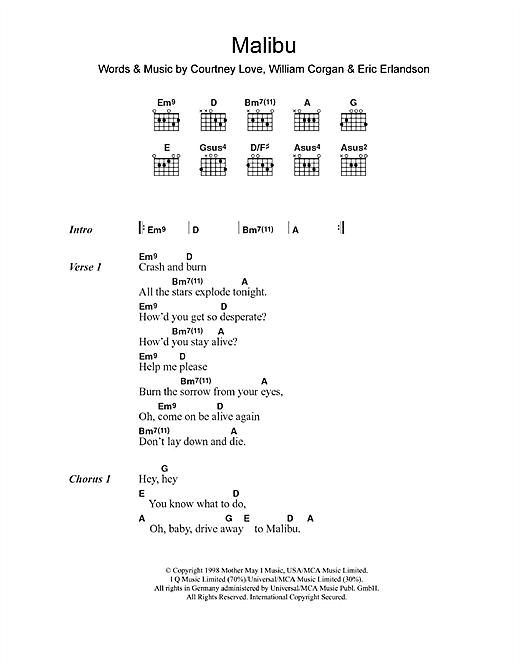 Hole Malibu sheet music notes and chords. Download Printable PDF.