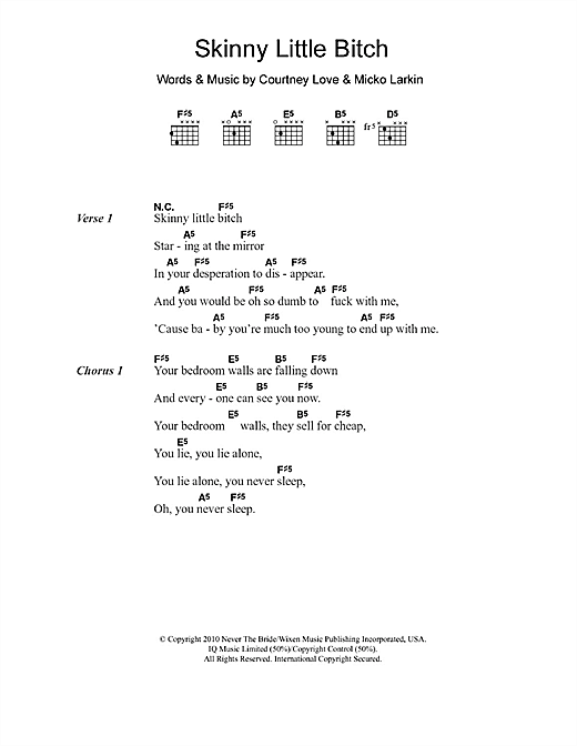 Hole Skinny Little Bitch sheet music notes and chords. Download Printable PDF.