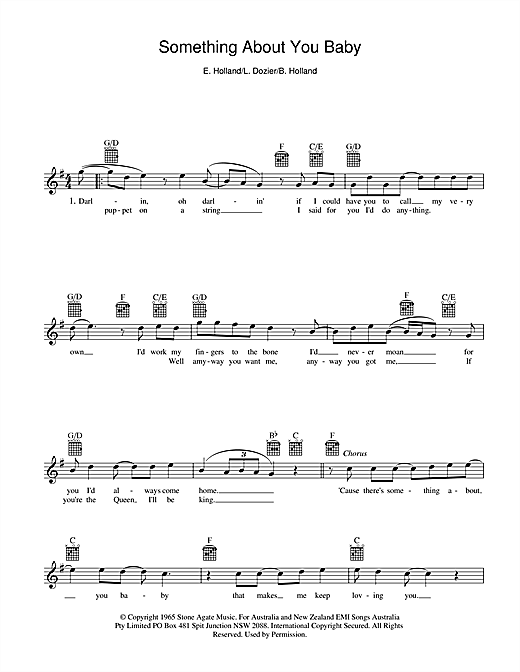 Holland-Dozier-Holland Something About You Baby sheet music notes and chords. Download Printable PDF.