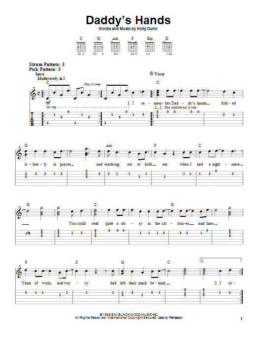 Holly Dunn Daddy's Hands sheet music notes and chords. Download Printable PDF.