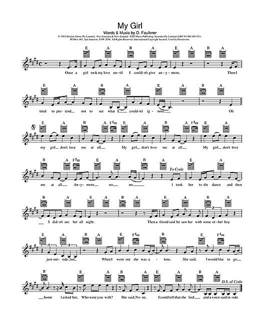 Hoodoo Gurus My Girl sheet music notes and chords. Download Printable PDF.