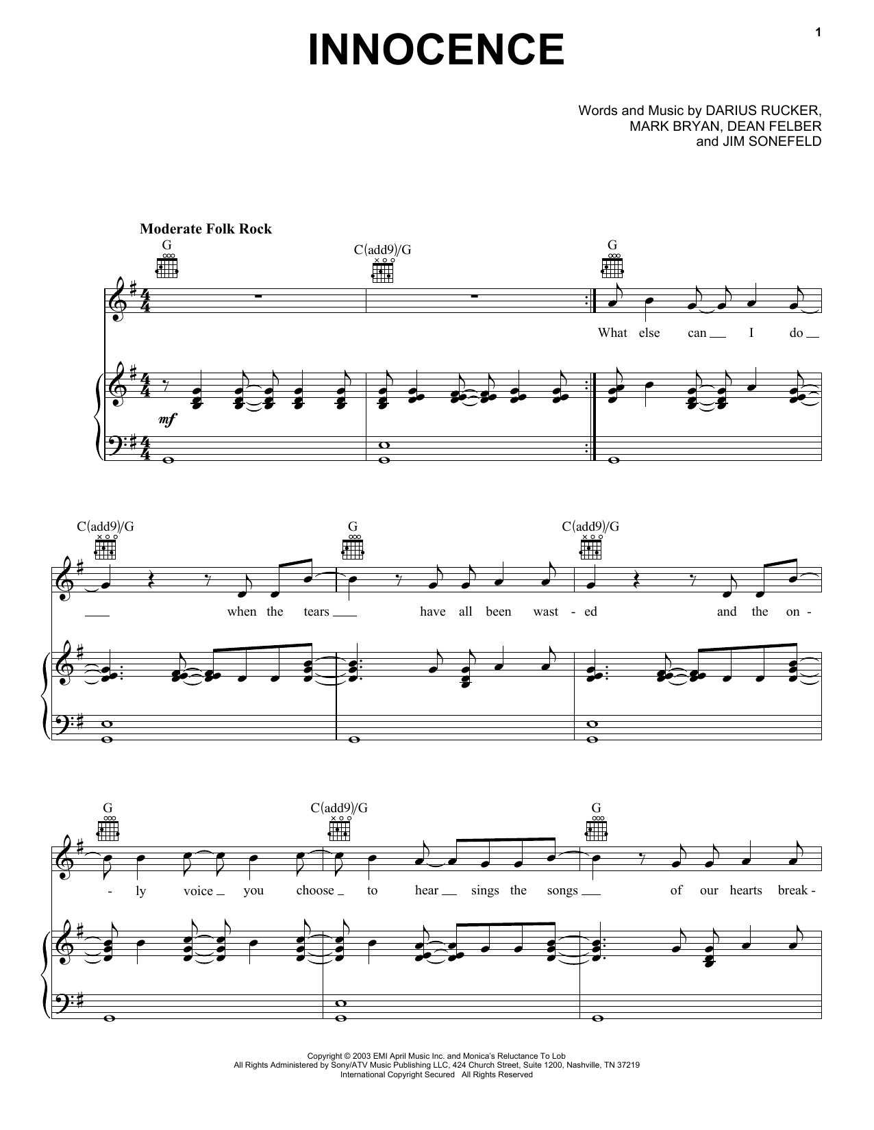 Hootie & The Blowfish Innocence sheet music notes and chords