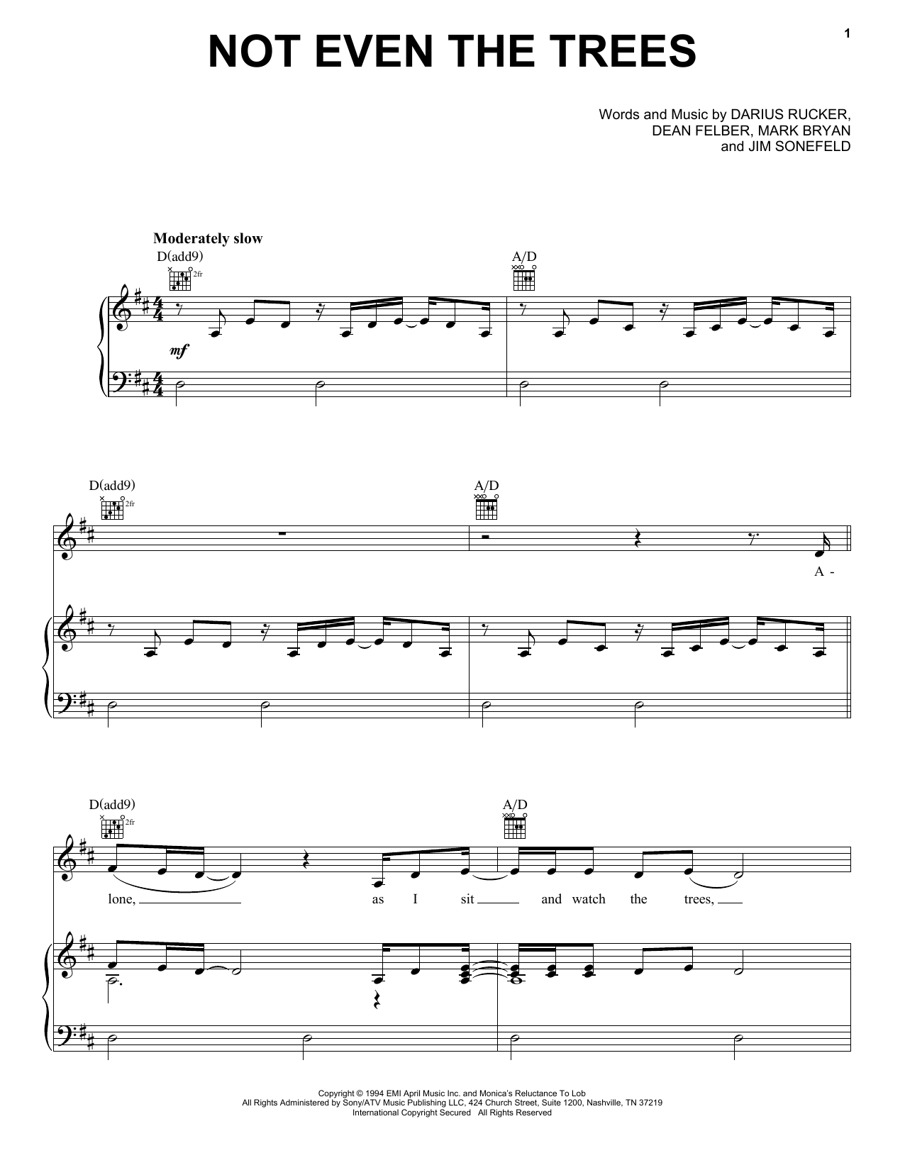 Hootie & The Blowfish Not Even The Trees sheet music notes and chords. Download Printable PDF.