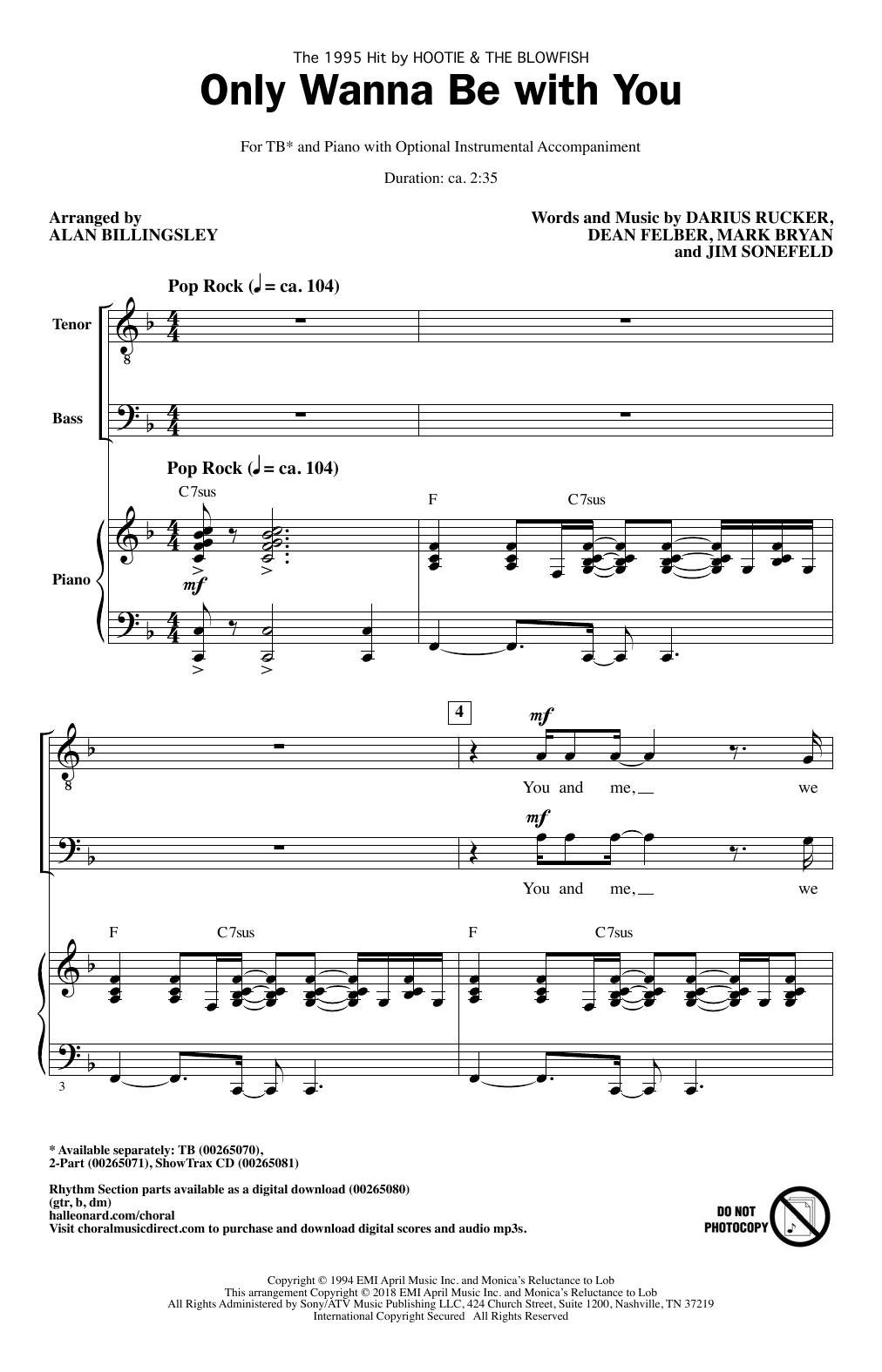 Hootie & The Blowfish Only Wanna Be With You (arr. Alan Billingsley) sheet music notes and chords