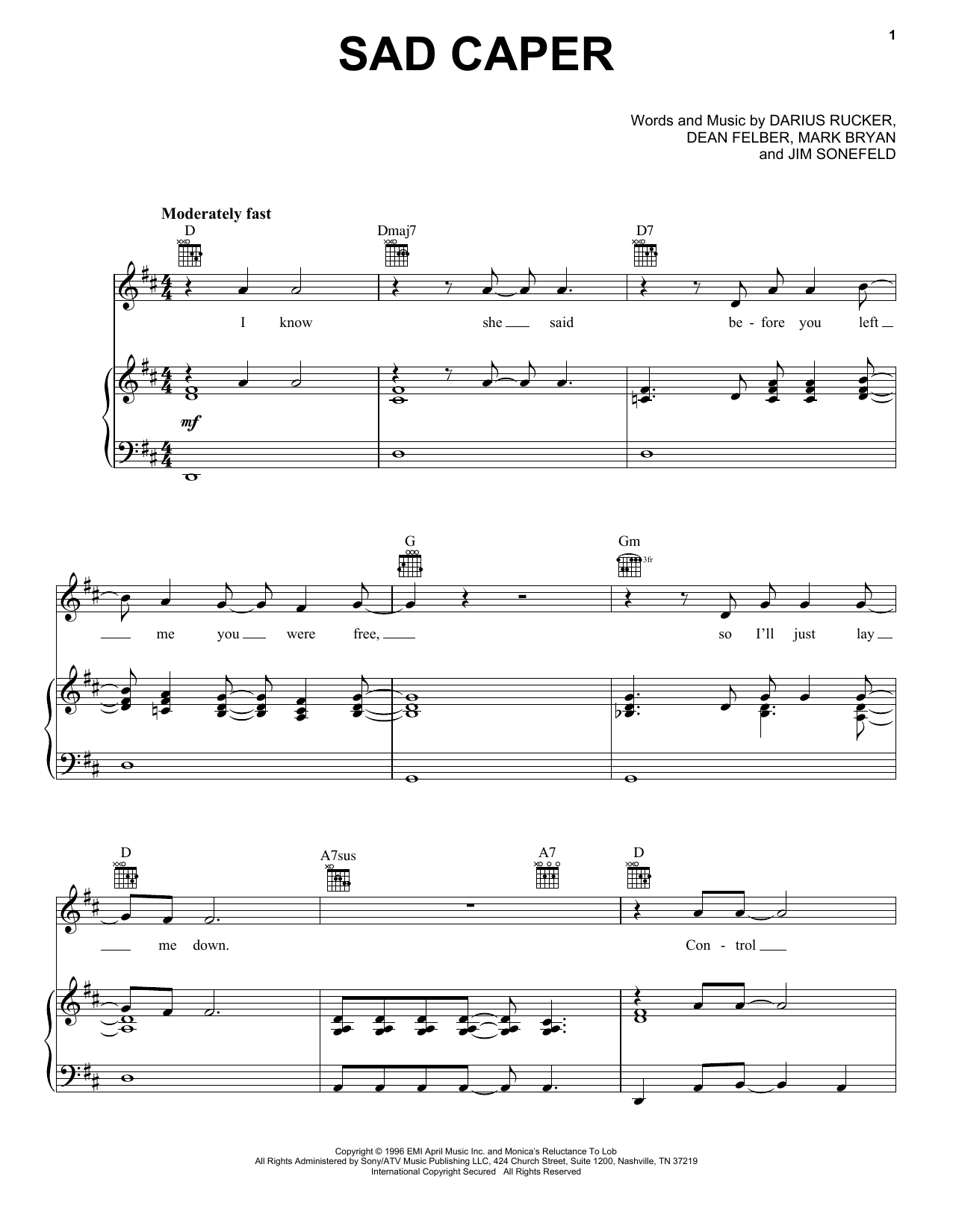 Hootie & The Blowfish Sad Caper sheet music notes and chords