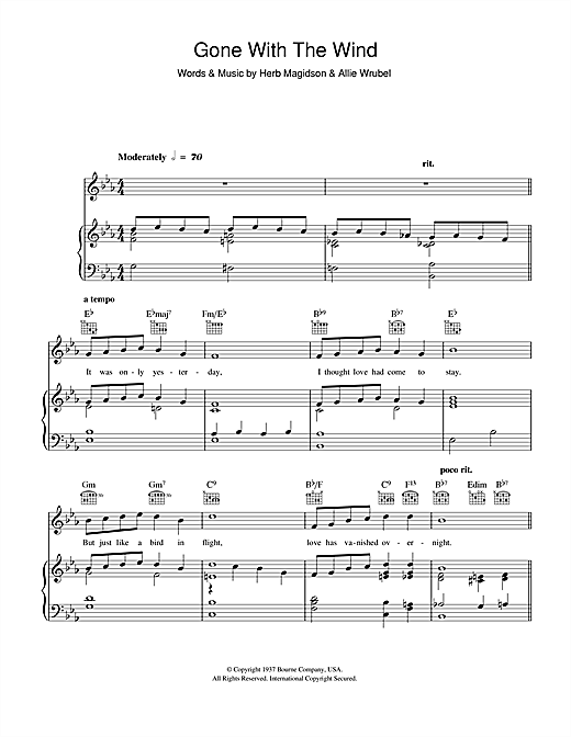 Horace Heidt Gone With The Wind sheet music notes and chords. Download Printable PDF.