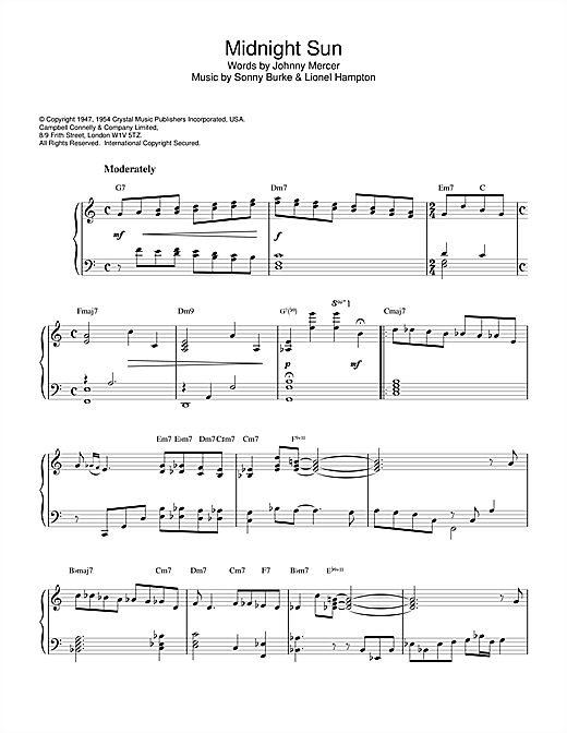 Horace Silver Midnight Sun sheet music notes and chords