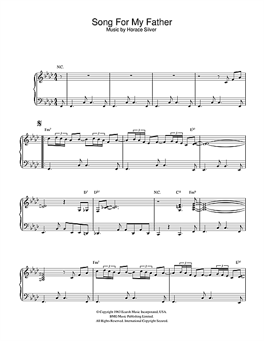 Horace Silver Song For My Father sheet music notes and chords. Download Printable PDF.