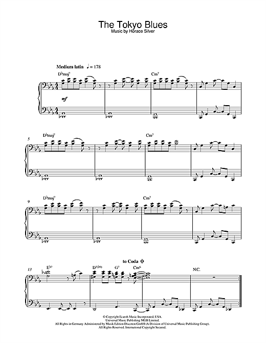 Horace Silver The Tokyo Blues sheet music notes and chords. Download Printable PDF.