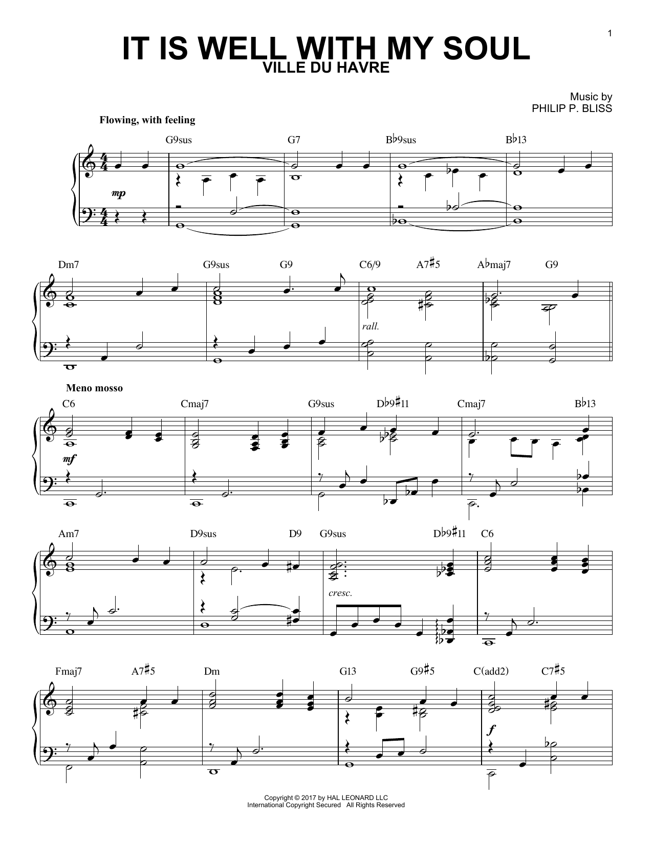 Horatio G. Spafford It Is Well With My Soul [Jazz version] Sheet Music  Notes, Chords   Download Printable Piano Solo PDF Score   SKU 15