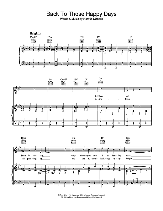 Horatio Nicholls Back To Those Happy Days sheet music notes and chords. Download Printable PDF.