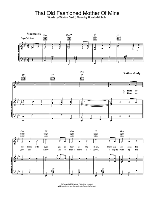 Horatio Nicholls That Old Fashioned Mother Of Mine sheet music notes and chords. Download Printable PDF.