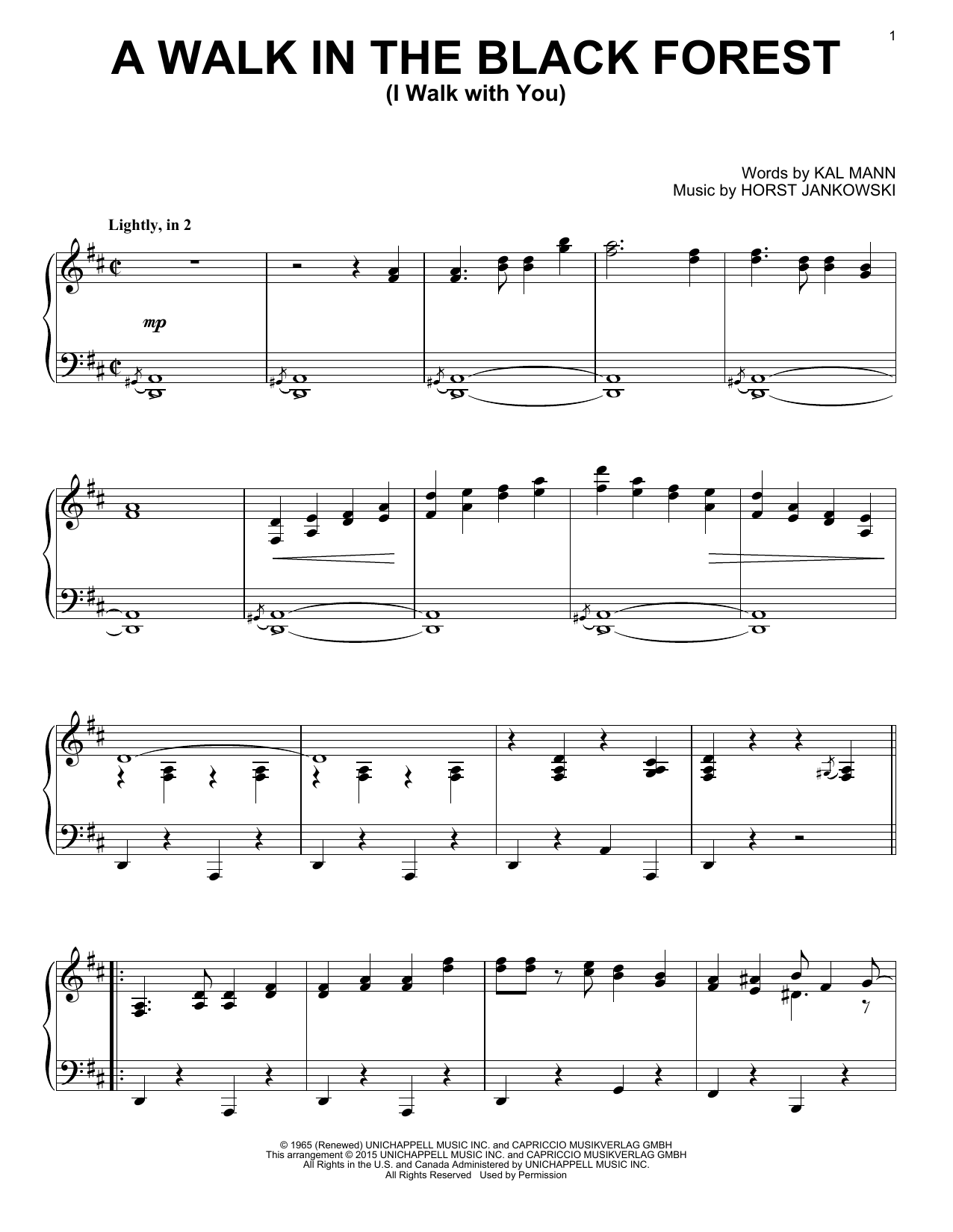Horst Jankowski A Walk In The Black Forest (I Walk With You) sheet music notes and chords. Download Printable PDF.