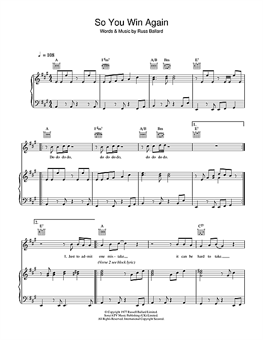 Hot Chocolate So You Win Again sheet music notes and chords. Download Printable PDF.
