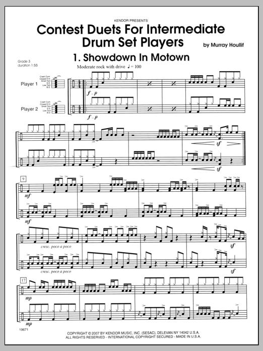 Houllif Contest Duets For Intermediate Drum Set Players sheet music notes and chords