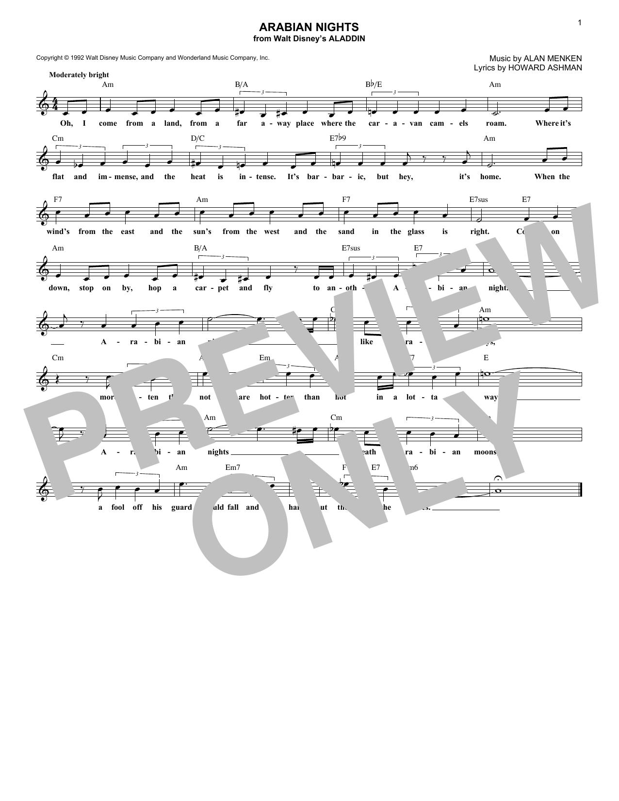 Howard Ashman 'Arabian Nights (from Aladdin)' Sheet Music Notes, Chords |  Download Printable Lead Sheet / Fake Book - SKU: 195814