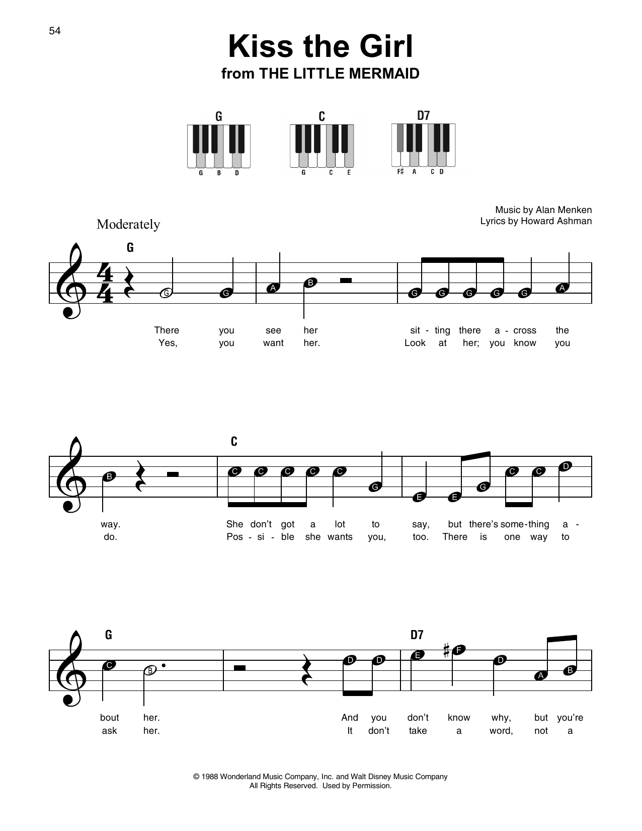 Howard Ashman Kiss The Girl from The Little Mermaid Sheet Music Notes,  Chords   Download Printable Super Easy Piano PDF Score   SKU 15