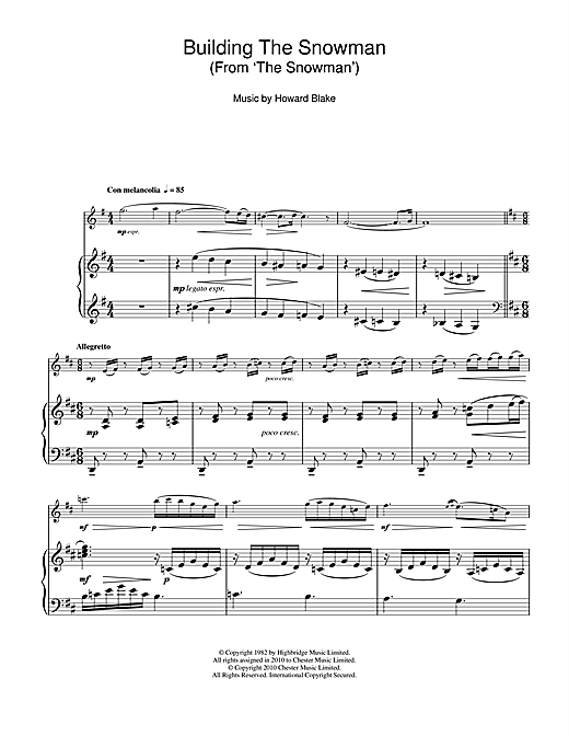 Howard Blake Building The Snowman (From 'The Snowman') sheet music notes and chords. Download Printable PDF.