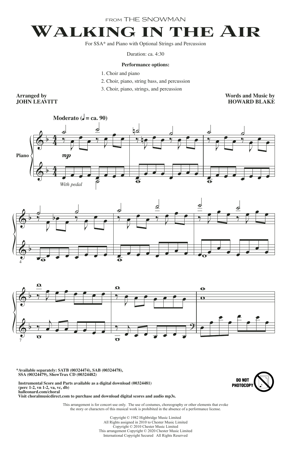Howard Blake Walking In The Air (from The Snowman) (arr. John Leavitt) sheet music notes and chords. Download Printable PDF.
