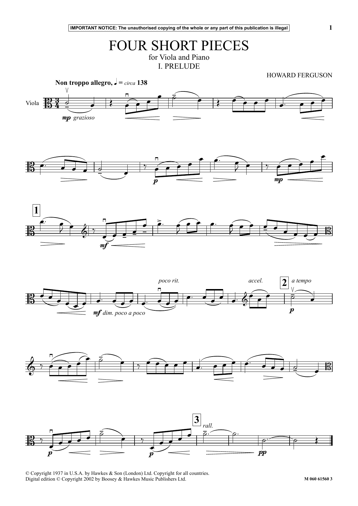 Howard Ferguson I. Prelude (from Four Short Pieces For Viola And Piano) sheet music notes and chords. Download Printable PDF.