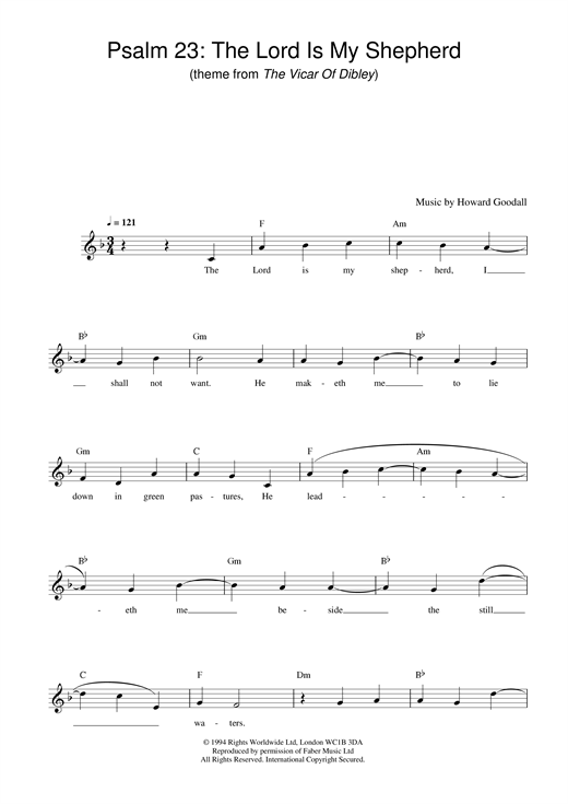Howard Goodall Psalm 23 The Lord Is My Shepherd Theme From The Vicar Of Dibley Sheet Music Pdf Notes Chords Film Tv Score Piano Chords Lyrics Download Printable Sku 357224
