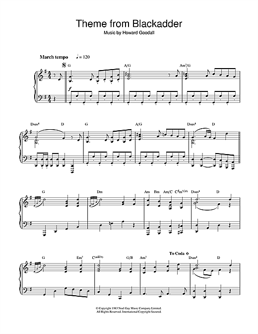 Howard Goodall Theme from Blackadder sheet music notes and chords. Download Printable PDF.