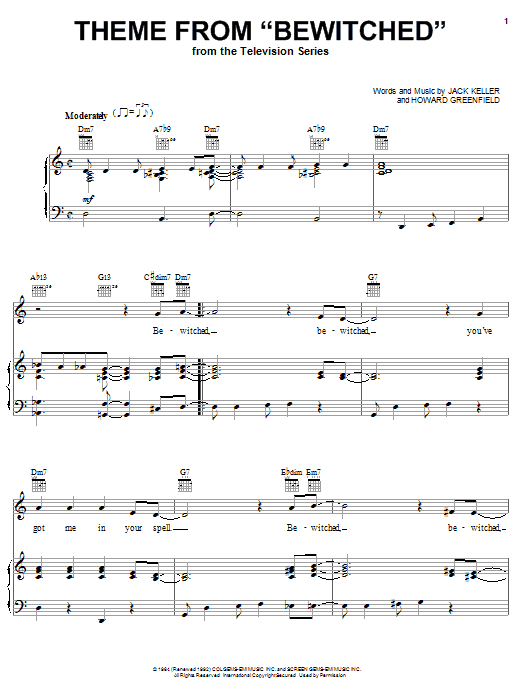 Howard Greenfield Theme from Bewitched sheet music notes and chords. Download Printable PDF.