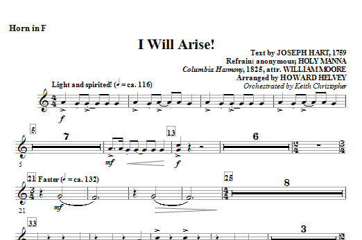 Howard Helvey I Will Arise! - Horn in F sheet music notes and chords. Download Printable PDF.