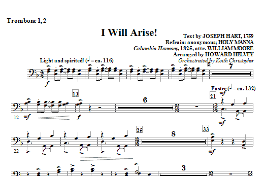 Howard Helvey I Will Arise! - Trombone 1, 2 sheet music notes and chords. Download Printable PDF.